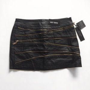 NWT Black Faux Leather Zipper Mini Skirt